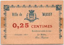 France 25 Centimes Wassy City - 1917