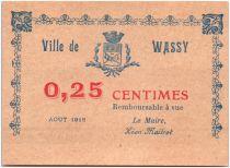 France 25 Centimes Wassy City - 1918