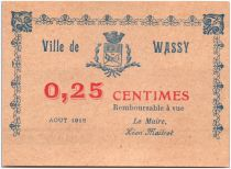 France 25 Centimes Wassy City - 1918