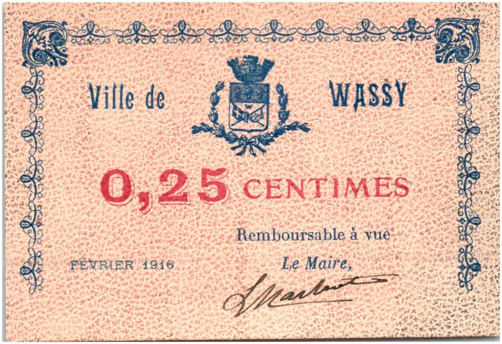 France 25 Centimes Wassy Ville - 1916