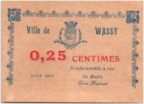 France 25 Centimes Wassy Ville - 1917