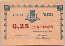 France 25 Centimes Wassy Ville - 1917