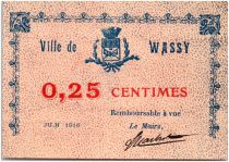France 25 Centimes Wassy Ville - 1918