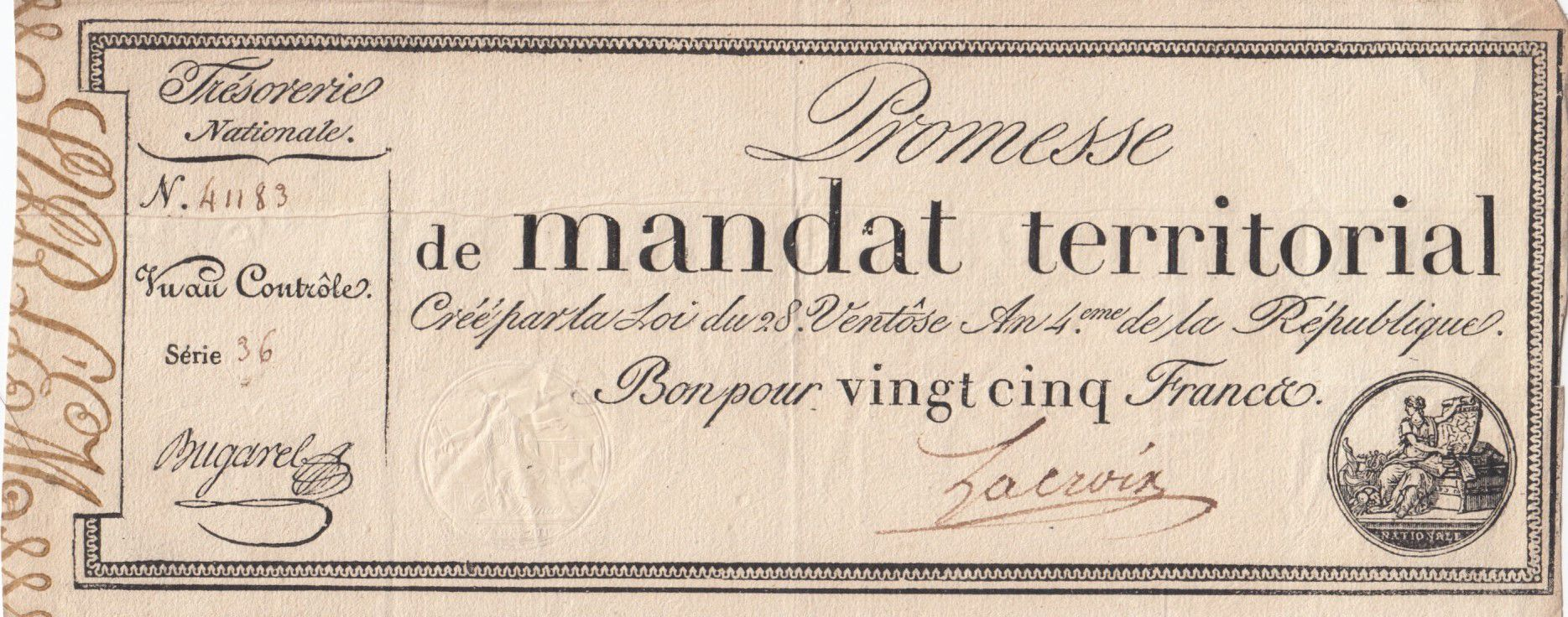 France 25 Francs Mandat Territorial avec série - 28 Ventose An IV (18.03.1796) - TTB