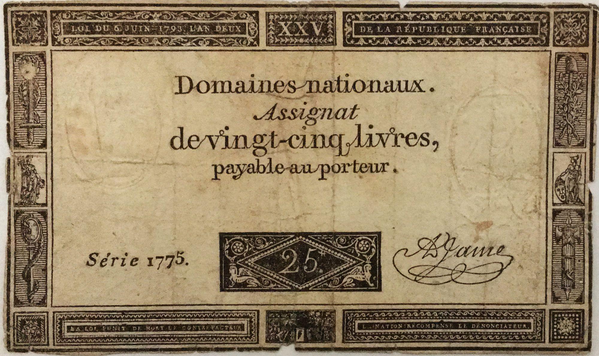 France 25 Livres - 06-06-1793 - Sign. A. Jame Série 1775 - PTB