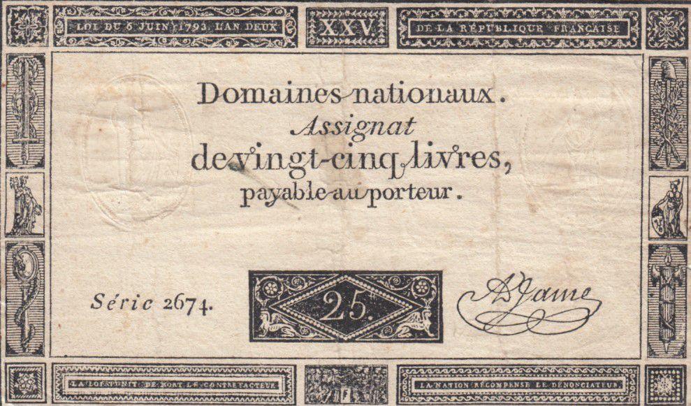 France 25 Livres - 06-06-1793 - Sign. A. Jame Série 2674
