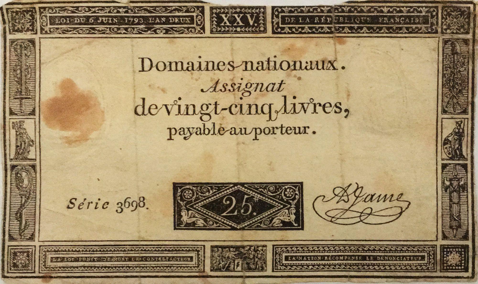 France 25 Livres - 06-06-1793 - Sign. A. Jame Série 3698 - PTB