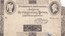 France 25 Livres - Louis XVI 24-10-1792 - Sign. A. Jame - Serial 254