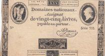 France 25 Livres - Louis XVI 24-10-1792 - Sign. A. Jame - Série 353