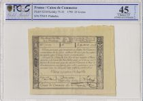 France 25 Livres Caisse de Commerce - 1791 - Paris - PCGS XF 45