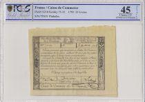 France 25 Livres Caisse de Commerce - 1791 - Paris - PCGS XF 45