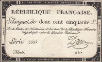 France 250 Livres - 7 Vendémiaire - l\'An deux de la République Française - Sign. Dreux
