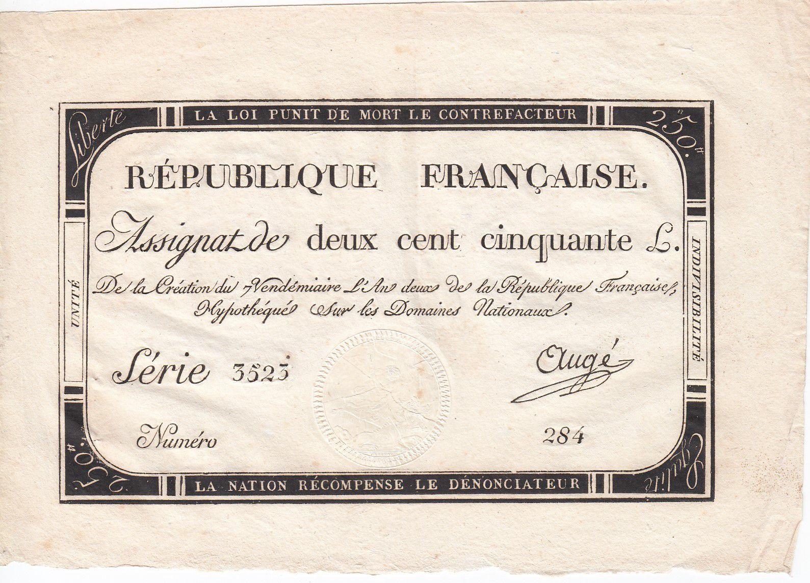 France 250 Livres 7 Vendemiaire An II - 28.9.1793 - Sign.  Augé - TTB+