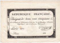 France 250 Livres 7 Vendemiaire An II - 28.9.1793 - Sign.  Deschamps - TTB+