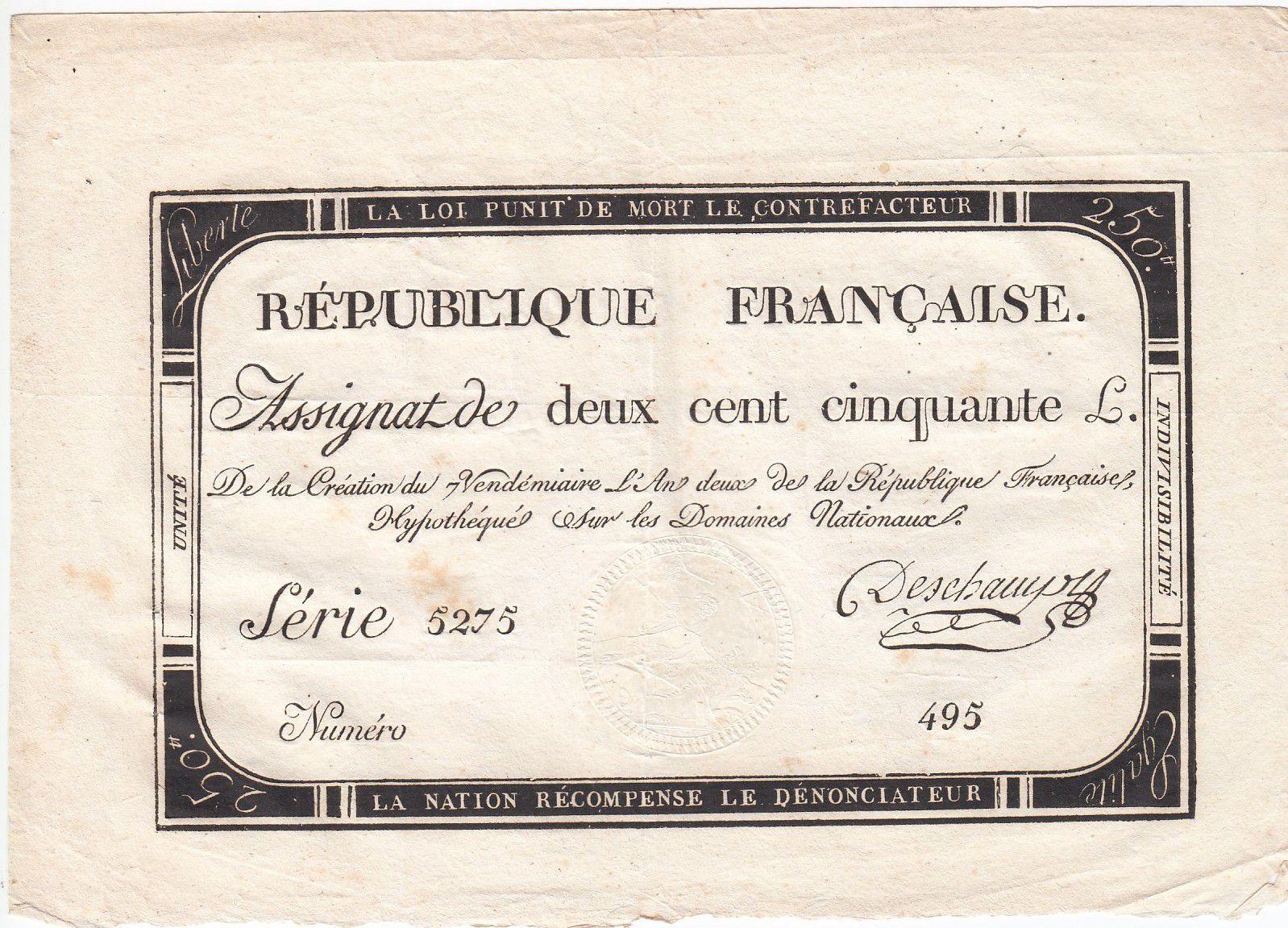 France 250 Livres 7 Vendemiaire An II - 28.9.1793 - Sign.  Deschamps - VF+