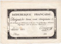 France 250 Livres 7 Vendemiaire An II - 28.9.1793 - Sign.  Deschamps - VF+