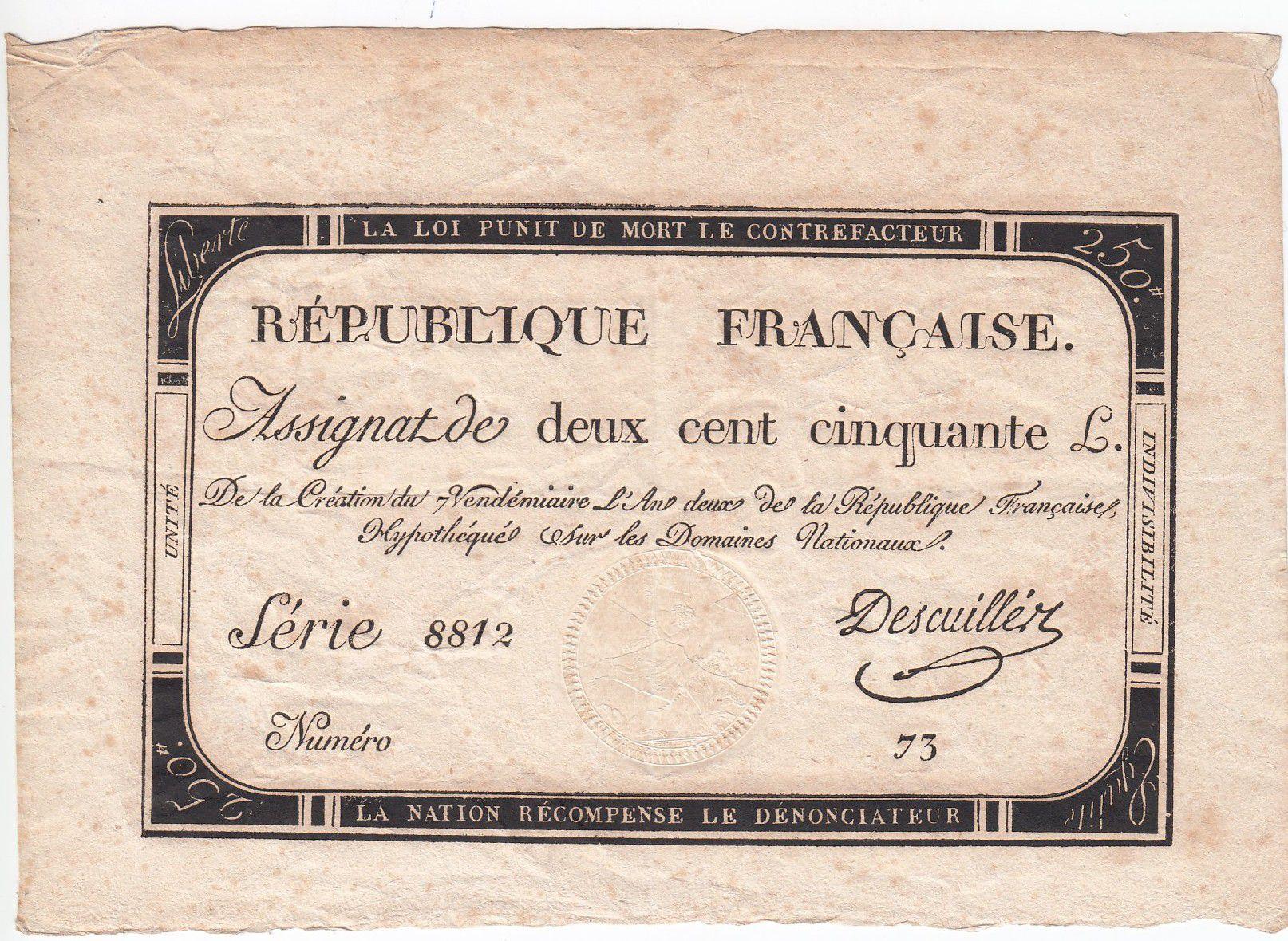 France 250 Livres 7 Vendemiaire An II - 28.9.1793 - Sign.  Descuiller - VF