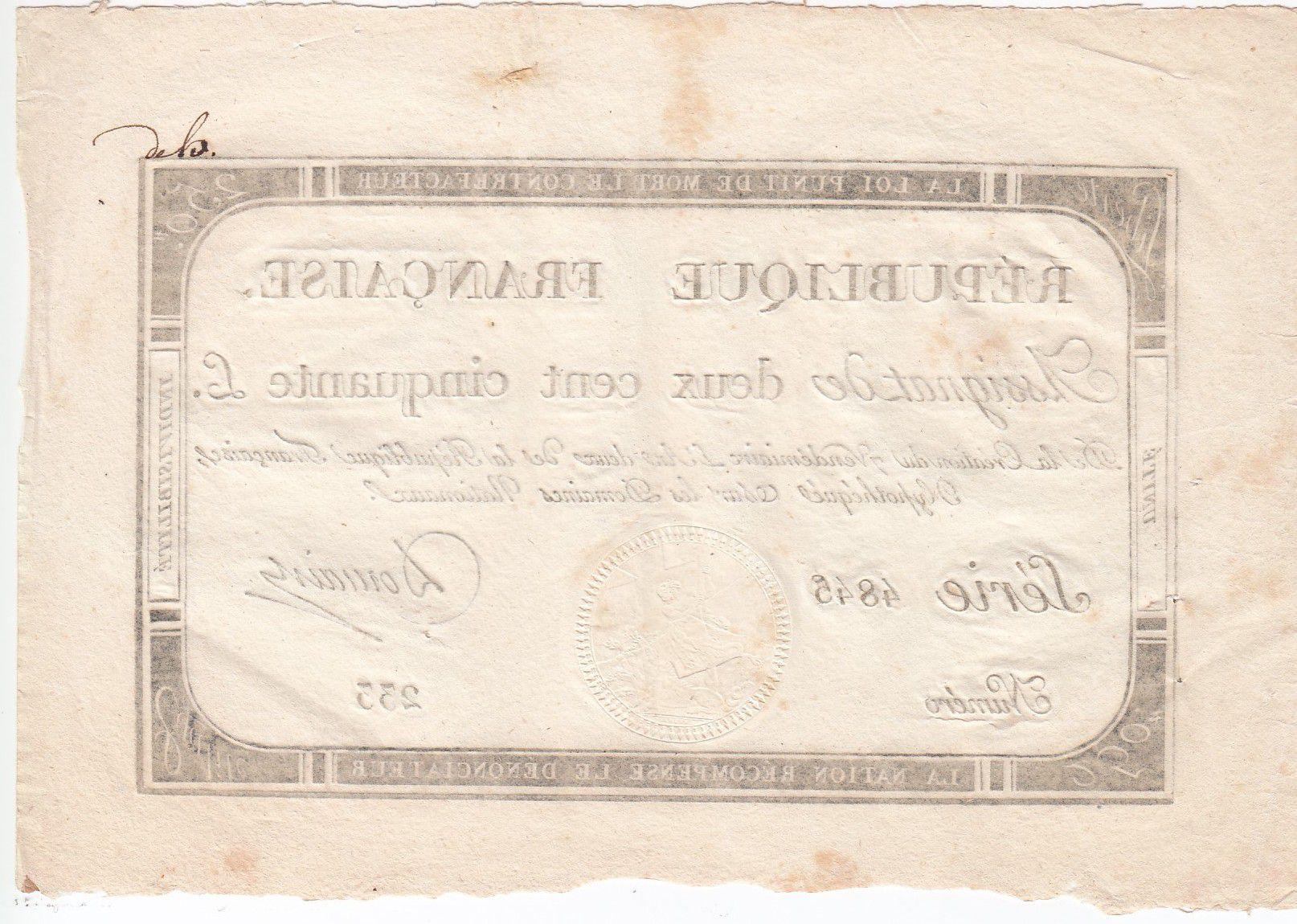 France 250 Livres 7 Vendemiaire An II - 28.9.1793 - Sign.  Domain - TTB+