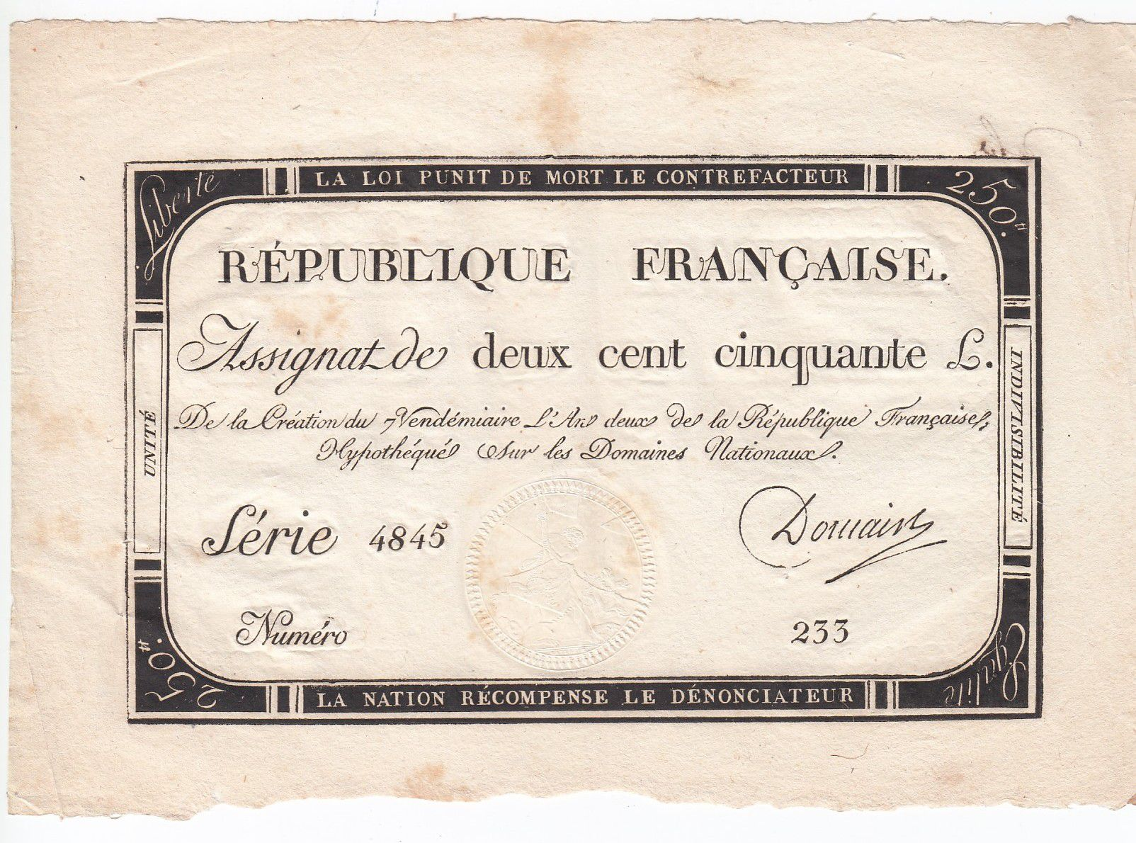 France 250 Livres 7 Vendemiaire An II - 28.9.1793 - Sign.  Domain - VF+