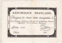 France 250 Livres 7 Vendemiaire An II - 28.9.1793 - Sign.  Dreux - VF+