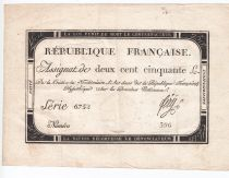 France 250 Livres 7 Vendemiaire An II - 28.9.1793 - Sign.  Fery - VF