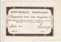 France 250 Livres 7 Vendemiaire An II - 28.9.1793 - Sign.  Huraux - VF+