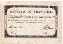 France 250 Livres 7 Vendemiaire An II - 28.9.1793 - Sign.  Juin - VF