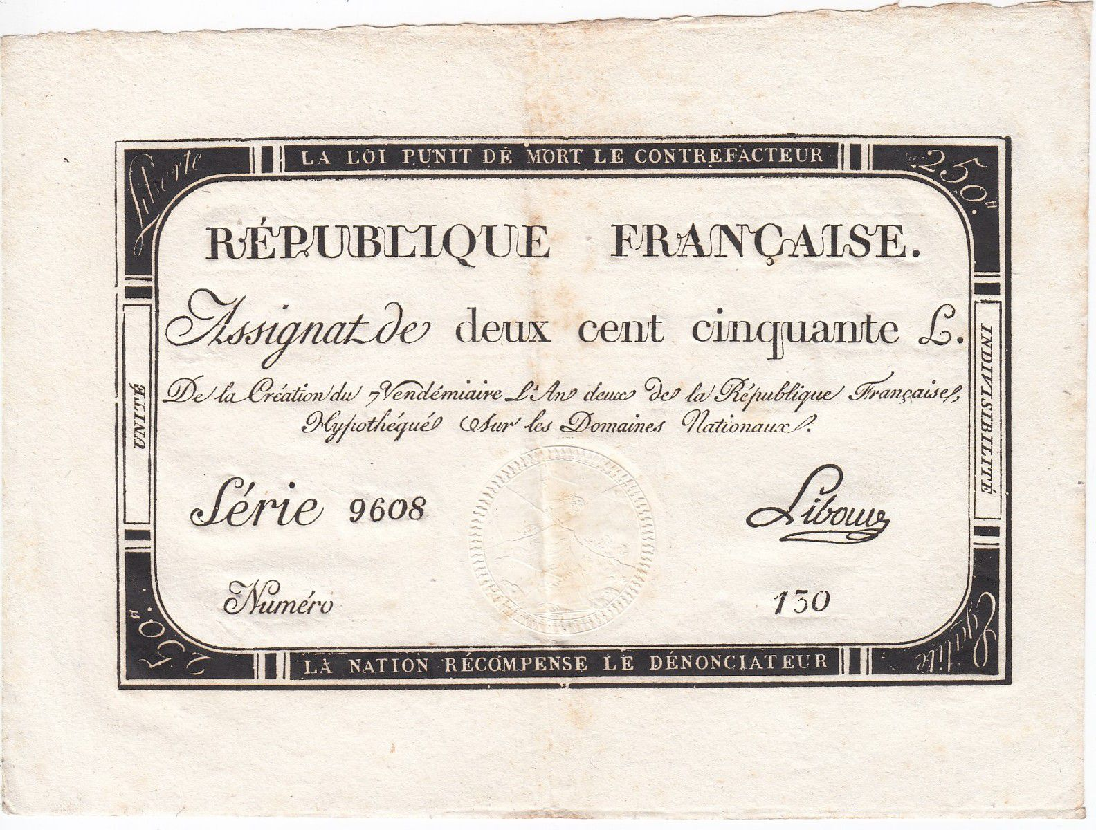 France 250 Livres 7 Vendemiaire An II - 28.9.1793 - Sign.  Libourd - XF