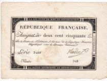 France 250 Livres 7 Vendemiaire An II - 28.9.1793 - Sign.  Nadal - TTB+