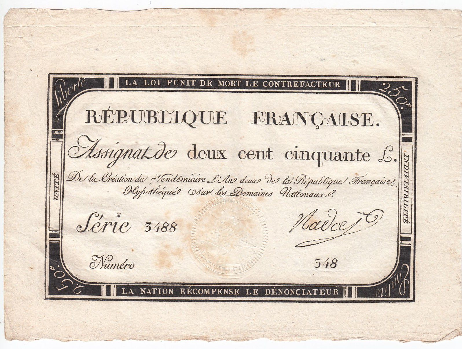 France 250 Livres 7 Vendemiaire An II - 28.9.1793 - Sign.  Nadal - VF+