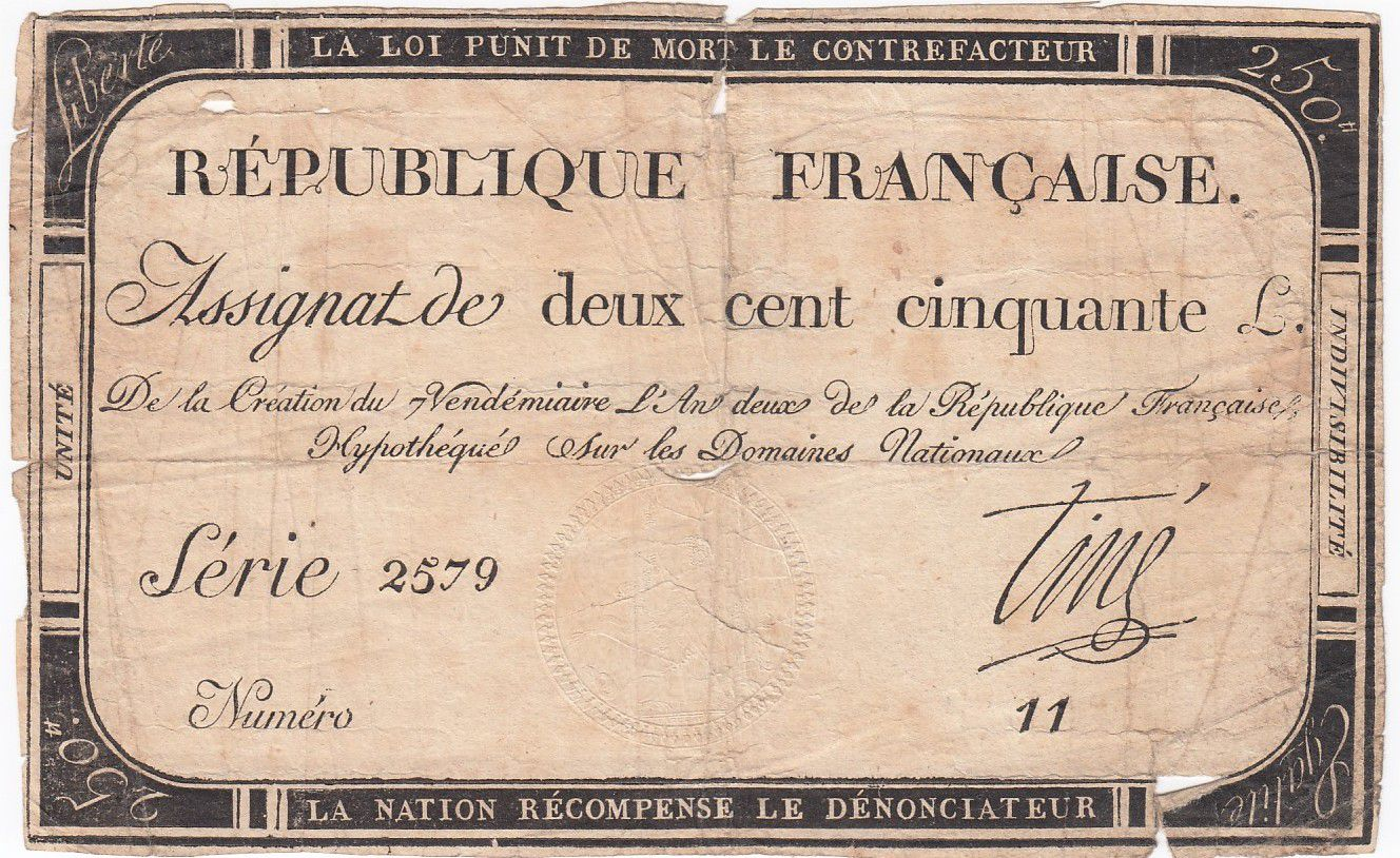 France 250 Livres 7 Vendemiaire An II - 28.9.1793 - Sign.  Tiné - B