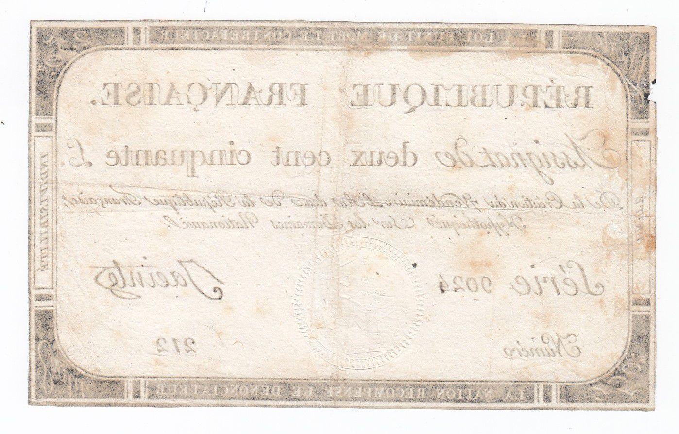 France 250 Livres 7 Vendemiaire An II - 28.9.1793 - Sign. Jacinte - TTB