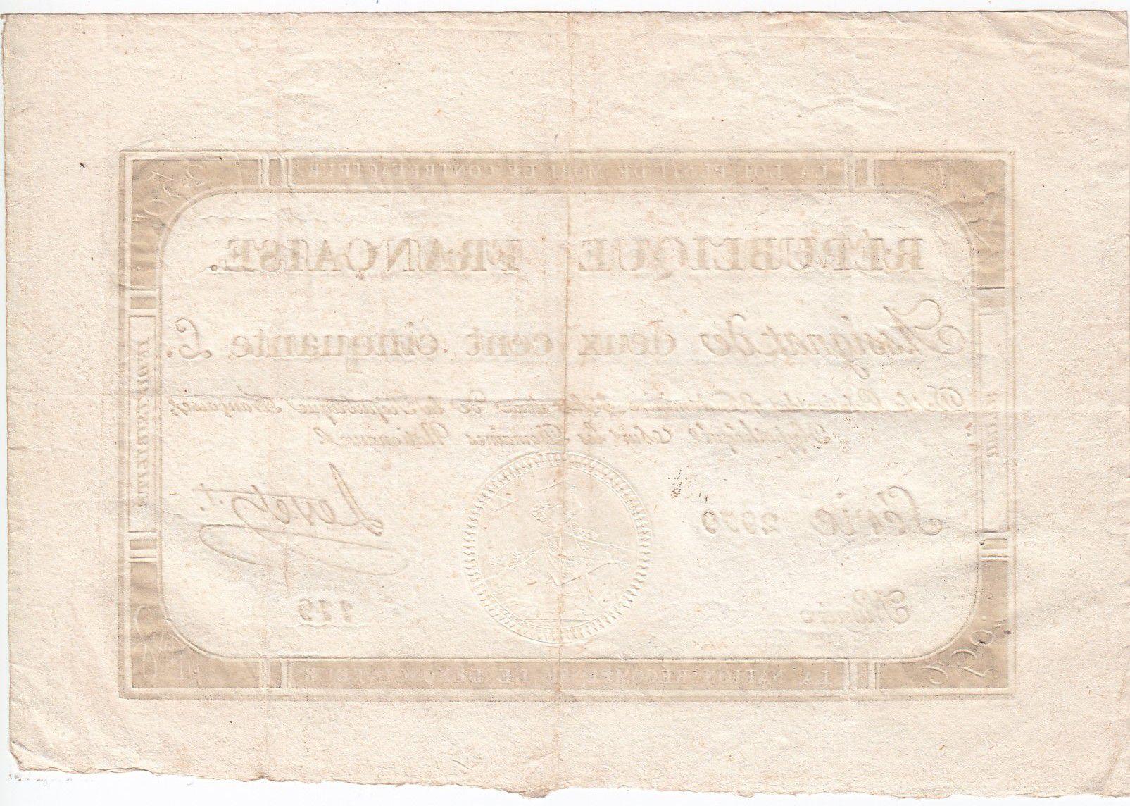 France 250 Livres 7 Vendemiaire An II - 28.9.1793 - Sign. Levet - TTB+