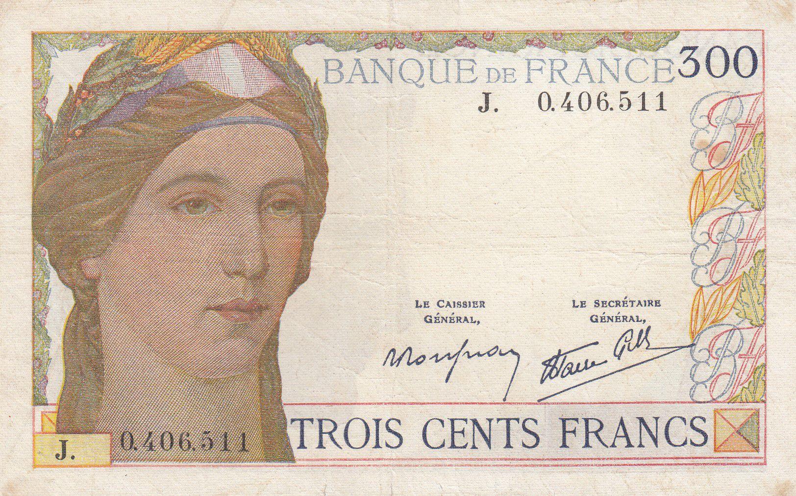 France 300 Francs Ceres and Mercury - 06-10-1938 - J.0.406.511 - VF