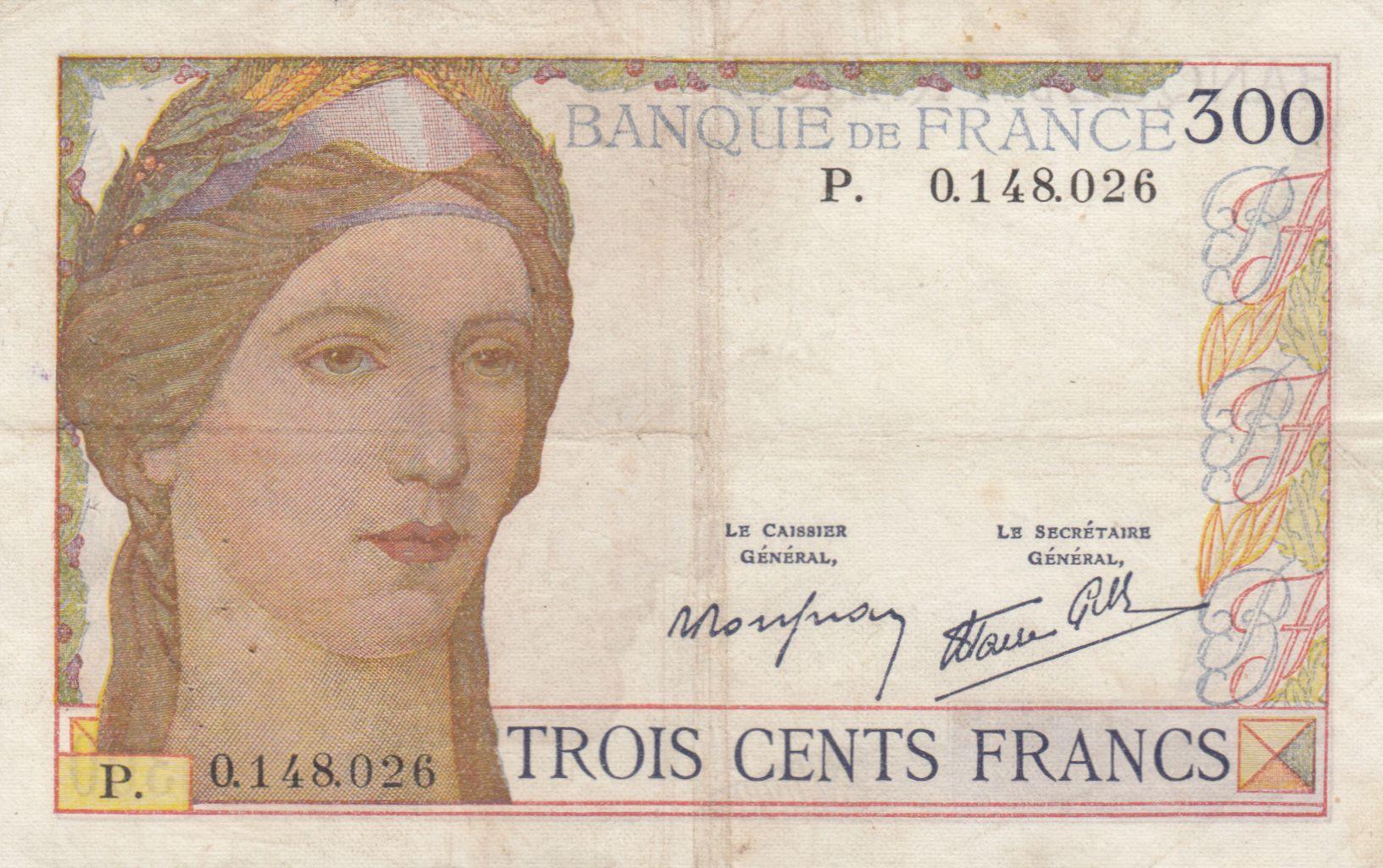 France 300 Francs Cérès et Mercure - 1938 - P. 0.148.026 - TTB