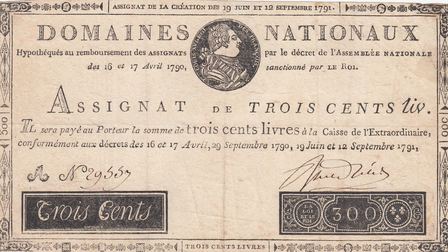 France 300 Livres Bust of Louis XVI - 19-06 et 12-09-1791 Serial A - VF