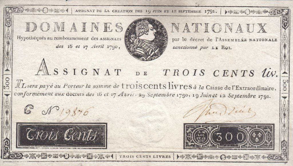 France 300 Livres Louis XVI - 19 June and 12 Sept. 1791 - Serial C. Loading  zoom