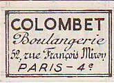 France 35 cent. Paris Boulangerie Colombet