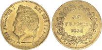 France 40 Francs Louis Philippe Ier Tête Laurée - 1834 A - Or