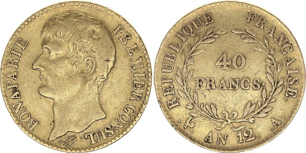 France 40 Francs Napoleon Consul - An 12 A Paris - Gold