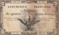 France 400 Livres 21-09-1792 - Sign. Orry - Serial 650 - F - P. A.73