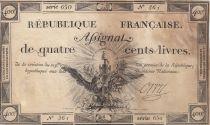 France 400 Livres 21-09-1792 - Sign. Orry - Série 650 - TB