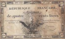 France 400 Livres 21-09-1792 - Sign. Rousseau - Série 859 - TB