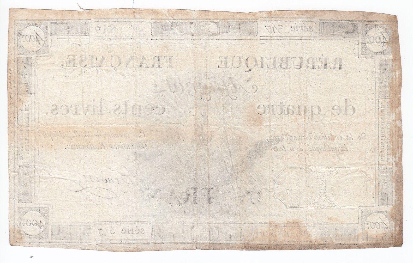 France 400 Livres 21-11-1792 - Sign. Benoist Serial 347 - VF