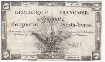 France 400 Livres 21-11-1792 - Sign. Bertaut - Serial 1222 - Fine