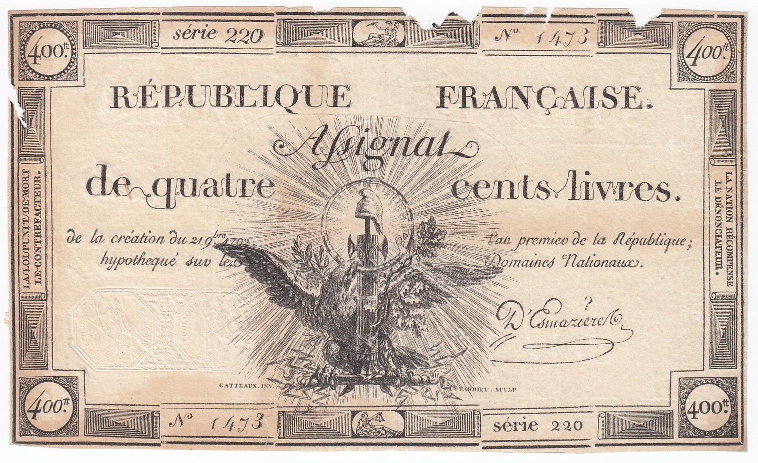 France 400 Livres 21-11-1792 - Sign. D\'Esmaziere Serial 220 - VF to F