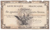 France 400 Livres 21-11-1792 - Sign. D\'Esmaziere Série 220 - PTB