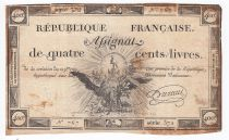 France 400 Livres 21-11-1792 - Sign. Durant Serial 372 - F to VF