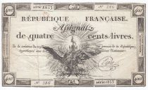 France 400 Livres 21-11-1792 - Sign. Evin Serial 1853 - VF