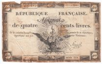 France 400 Livres 21-11-1792 - Sign. Fleuriel Serial 572 - F+
